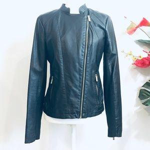 Calvin Klein Faux Leather Moto Jacket Black